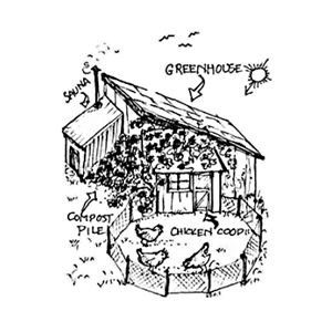 line drawing of a permaculture homestead