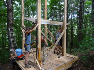 attaching floor beam in womens carpentry class
