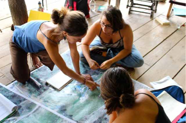 Permaculture design students working on a map