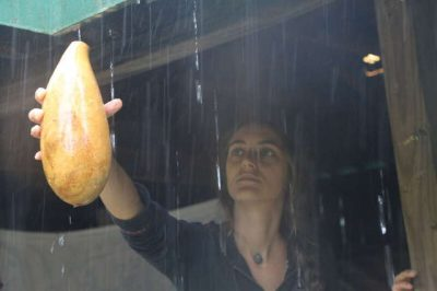 woman harvesting wild rainwater in a gourd