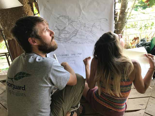 permaculture design course students working on a map