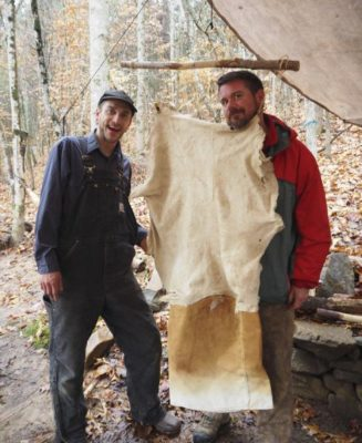 apprentices smoking deer hide