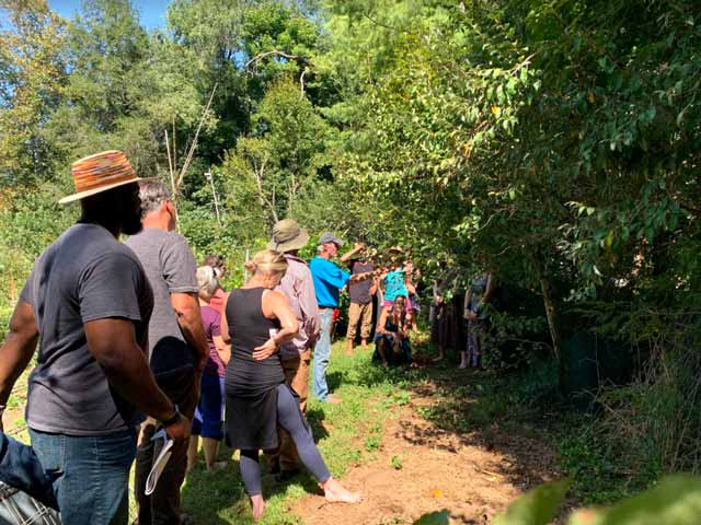 permaculture students exploring an orchard