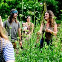 permaculture apprentices in the garden
