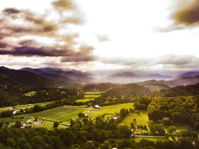 aerial view of rural NC near Asheville