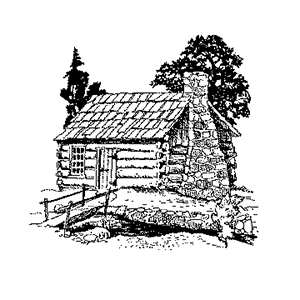 line drawing of a rustic cabin