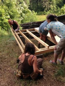 framing a floor in a women's carpentry course