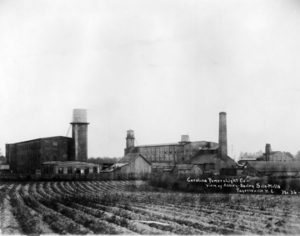 old black and white photo of a silk mill in Fayatteville, NC circa 1910