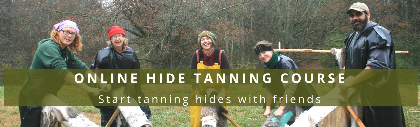 brain tanning course hide tanning class banner with group of people scraping hides