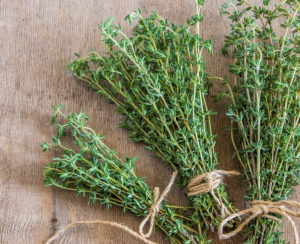 bunches of fresh thyme.