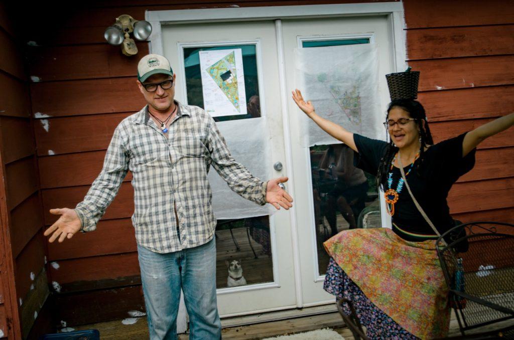landowner and farmer together excited