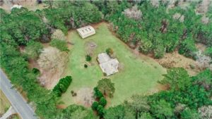 aerial photo of land purchased by permaculture design course students