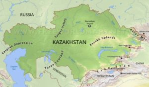 map of kazakhstan featuring tian shan mountains where apples originated