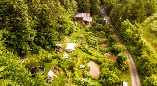 aerial view of Wild Abundance permaculture homestead campus