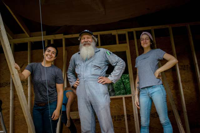 women's carpentry students with Barron Brown instructor of natural building