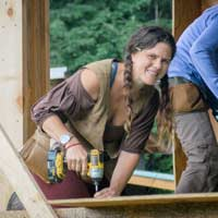 Natalie Bogwalker doing carpentry