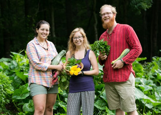 gardening students with summer bounty