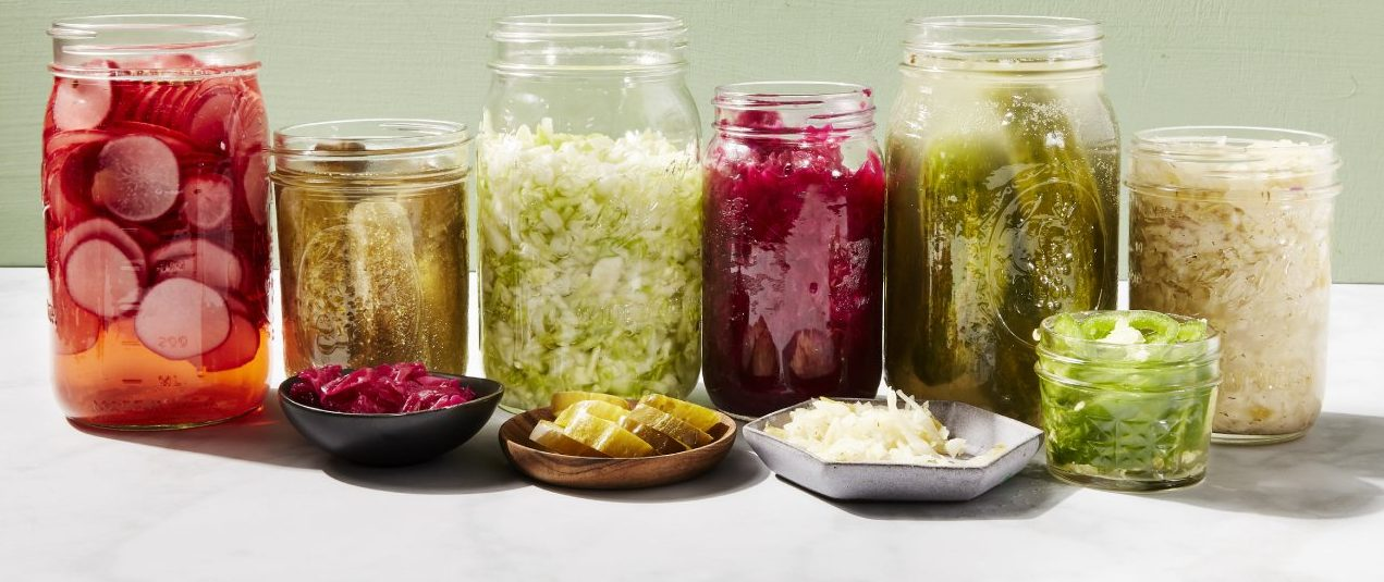 pickled and preserved food in jars