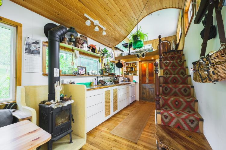 creatively designed interior of tiny house on wheels