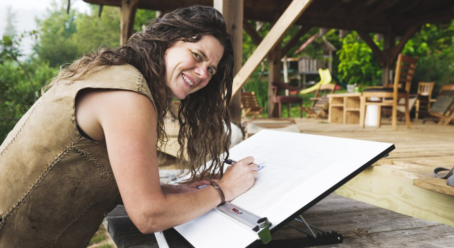 tiny house class instructor sketching tiny house design