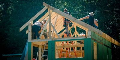 adding roof rafters to a tiny house