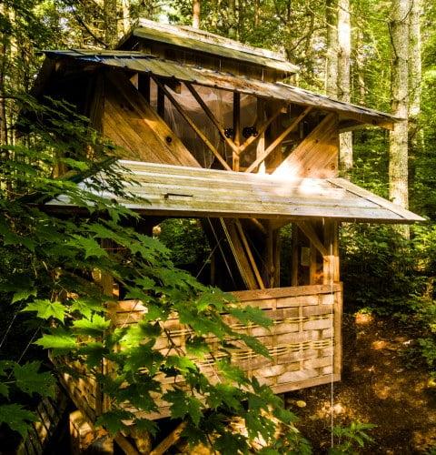 tiny pagoda built with natural materials