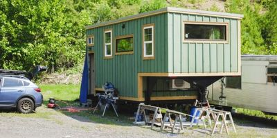 tiny house on wheels built by carpentry students