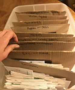 box of organized seeds