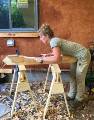 building student using cutting brace