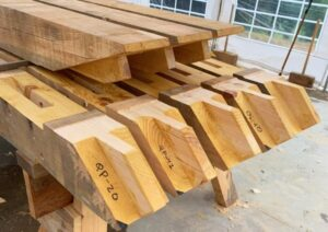 mortise and tenon joinery cut into timbers