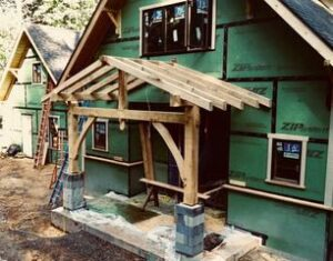 timber framed entryway