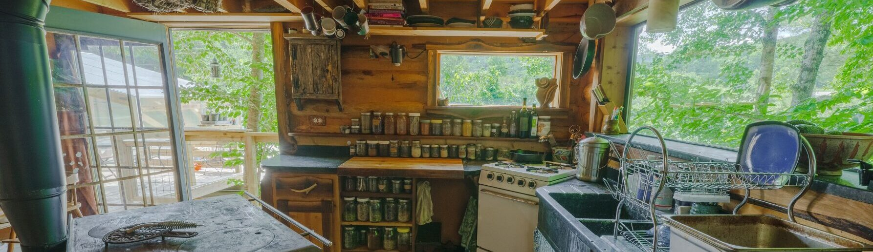 tiny house kitchen in log cabin