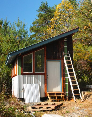 tiny house built with salvaged materials