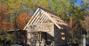 cordwood cabin under construction