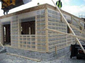 hempcrete tiny house under construction